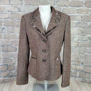 Vintage Wool Tweed Blazer W/Velvet Size 11 Brown